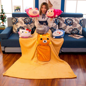 2 in 1 Pillow Blanket Cartoon Plush Stuffed Animal Doll Toy Family Car Outdoor Pillow Quilt