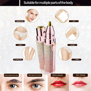2 in 1 Lipstick Shaver Hair Removal with LED for Facial Leg Underarm Electric Hair Remover Eyebrow Trimmer Painless