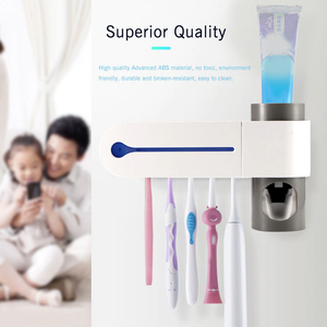 2 in 1 Ultraviolet Sterilizer Toothbrush Holder for Bathroom Automatic Toothpaste Dispenser UV Antibacteria Holder