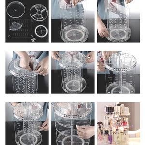 360 Degree Rotating Adjustable Makeup Organizer Cosmetic Storage Box Display Case