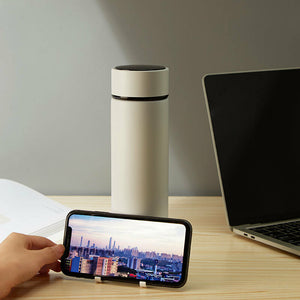 450ml Insulated Cup Smart LCD Temperature Display Phone Holder Water Bottle Stainless Steel Vacuum Thermos Camping Travel
