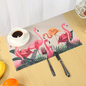 4/6 Pcs Tropical Leaf Flamingo PVC Heat Insulation Tableware Table Mats Placemats
