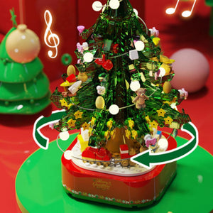 Light Music Christmas Tree Building Blocks Toy 486 Pcs 360° Rotating Music Box Christmas Tree Night Light Christmas Decoration Gifts