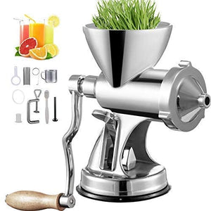 Manual Wheatgrass Juicer with Suction Cup Base & Desktop Clamp Wheat Grass Grinder Long Screw Shaft Stainless Steel for Juicing Wheatgrass Gingers Apples Grapes