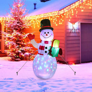 5ft Christmas Snowman Inflatable Blow Up with Rotating LED Lights for Indoor Outdoor Yard Garden Christmas Decorations