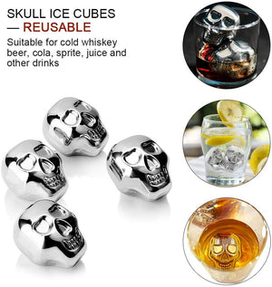 6Pcs Stainless Steel Skull Ice Cube Molds with Clip, Reusable Whiskey Skull Mold Chilling Rocks Stone Ice Cube for Whiskey, Scotch, Bourbon, Soda, Beer