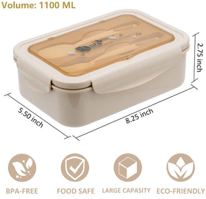 Bento Boxes for Students - Bento Lunch Box For Kids Childrens With Spoon & Fork, BPA-Free and Food-Safe Materials