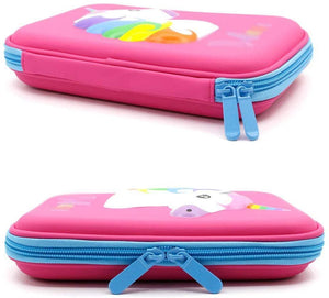 Pencil Case, Cute EVA Deer Pen Pouch Stationery Box Anti-Shock Large Capacity Multi-Compartment for School Students Teens Cute Animals