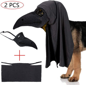 Pet Dog Halloween Costume Beak Muzzle Mouth Cover Halloween Cape Cloak Beak Doctor Costume for Medium Large Dogs