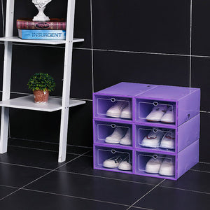 6PCS Flip Shoes Box Thickened Transparent Drawer Case Plastic Boxes Stackable