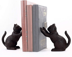 Decorative Cat Theme Bookend Heavy Duty Cast Iron Vintage Shelf Decor Antique Black