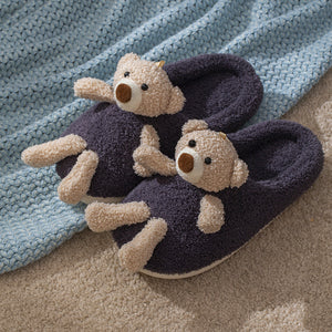 Bear Plush Slippers at Home Indoor Bear Baby Warm Creative Cotton Slippers Gifts for Women Men Kid for Kids and Adults