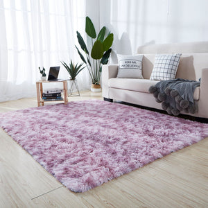 Cute Rainbow Color Rug Soft Fluffy Tie-dye Plush Rugs Absorbent Carpet Bedside Rugs For Bedroom Home Decor