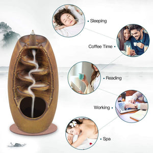 Ceramic Reflux Incense Burner Waterfall Incense Burner Aromatherapy Decoration Home Decoration