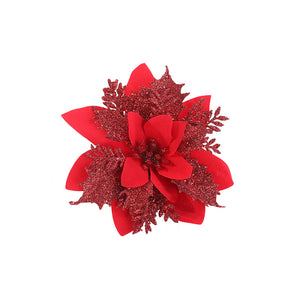 Christmas Poinsettia Glitter Flower Decoration Tree Hanging Ornament Xmas Decor 10 PCS