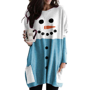 Christmas Snowman Face Print Dress Long Sleeve with Pocket