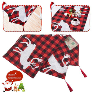 Christmas Table Runners Santa Claus Deer Tablecloth Home Xmas Ornaments Decoration
