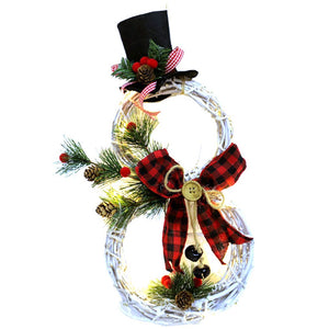 Snowman Shape Christmas Wreath Pendant LED Lights Garland Pendant Christmas Vine Circle Garland Door Window Wall Hanging Ornament for Home