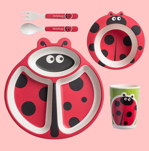 Cow Beetle Dinnerware Set Cute Skidproof Divided Plates Spoons Forks for Kids