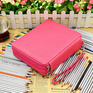 Deluxe PU Leather Pencil Case For Colored Pencils - 120 Slot Pencil Holder with Handle Strap Handy Colored Pencil Box