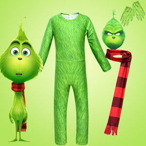The Grinch One-piece Jumpsuit Headgear Scarf Gloves Set for Kids Green Hair Monster Cosplay Costume