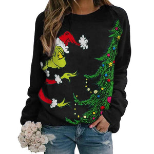 The Grinch Long Sleeve Sweatshirt for Women Christmas Pullover Crew Neck Loose Sweater