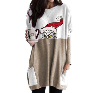 Grinch Long Sweatshirt for Women Christmas Sweatshirt Pullover Tops with Pocket