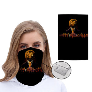 Halloween Face Cover Reusable Reversible Filter Halloween Scarf