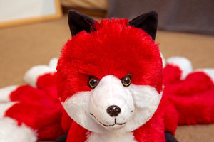 Cute Soft White Red Nine Tails Fox Plush Toys Stuffed Animals Nine-Tailed Fox Kyuubi Kitsune Dolls Creative Gifts for Girls