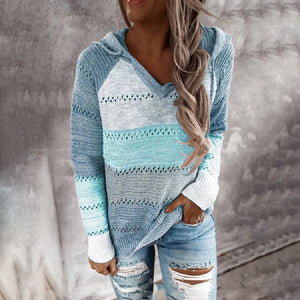 Hollow Out Knitted Lightweight Casual Long Sleeve Hoodie
