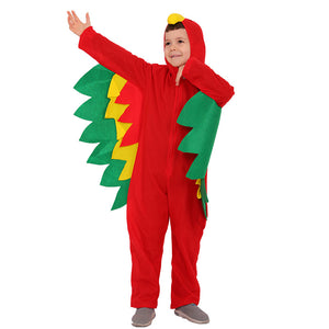 Hooded Scarlet Macaw Costume Halloween Cos for Kids