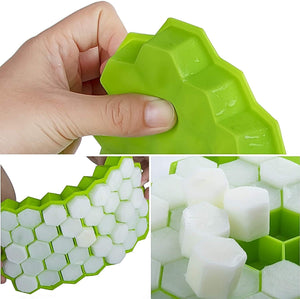 Ice Cube Trays Pack Silicone Ice Cube Molds with Lid Flexible 74-Ice Trays BPA Free, for Whiskey, Cocktail, Stackable Flexible Safe Ice Cube Molds