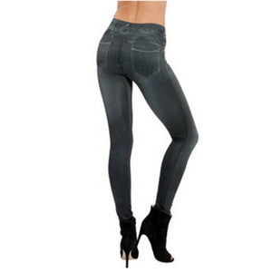 Jeans Leggings for Women Mid-Rise Tummy Compression Slimming Leggings