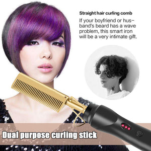 Multifunctional Copper Comb Combined With Wet and Drydual-use Curly Hair Straightening Stick Electric Hot Comb