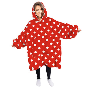 Oversized Huggle Hoodie Wearable Plush Huggle Hoodie for Home Cartoon Print Top with Warm Front Pocket