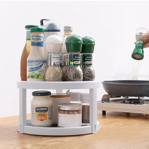 360°Turntable Rotating Organizer for Kitchen Storage Tray Spice Rack