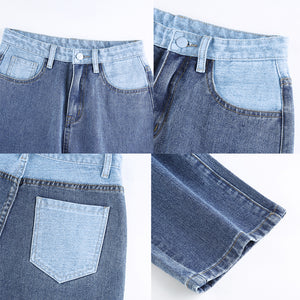 Patchwork Straight Jeans Slimming Baggy Vintage High Waist Women's Jeans