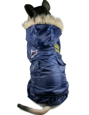 Pet Dog US Airforce Costume Warm Keep Bodysuit