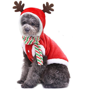 Red Elk Cosplay Costume Outfit Pet Dog Cats Clothes Dress Up for Christmas
