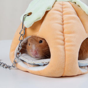 Small Pet Hamster Pumpkin Hammock Bed House Cage Accessories