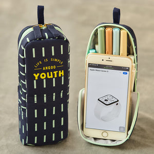 Stand Up Pencil Case Large Capacity Mobile Phone Holder for Students