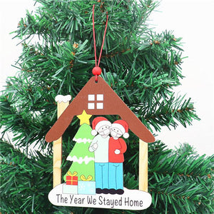 The Year We Stayed Home Christmas Pendant Xmas Tree Ornaments Wooden Hanging Decoration Souvenir Gift for Remember