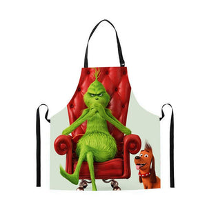 The Grinch Christmas Apron Adjustable Bib Waterdrop Woman Man BBQ Kitchen Use