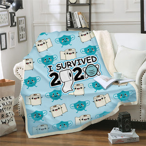 Toilet Paper I Survived Throw Blanket Fleece Plush Blanket for Couch Bed Sofa
