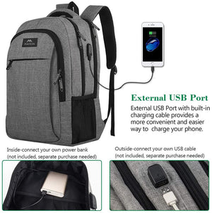 Travel Laptop Backpack, Business Anti Theft Slim Durable Laptops Backpack with USB Charging Port, Water Resistant College School Computer Bag 15.6 Inch