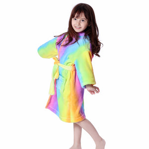 Unicorn Hooded Wearable Blanket Robe for Girls One Size