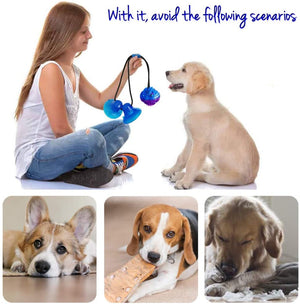 Upgrade Suction Cup Dog Toy Dog Chew Toys Interactive Dog Toys Dog Teeth Cleaning Toys Pet Molar Bite Toy Dog Squeaky Tug Toy for Dogs Non-Toxic & Durable Dog Toys