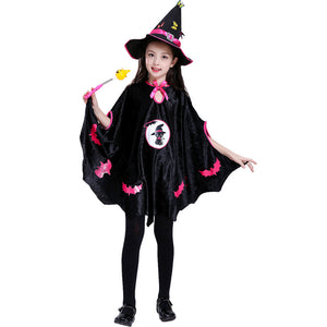 Witch Black Cape Halloween Cos Prop for Girls