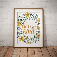 Load image into Gallery viewer, Bee Kind Floral Watercolor Wall Art