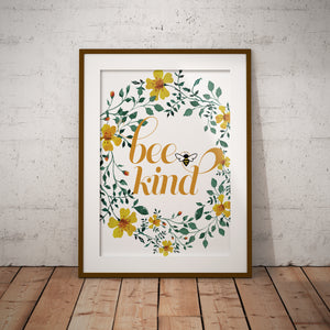 Bee Kind Floral Watercolor Wall Art